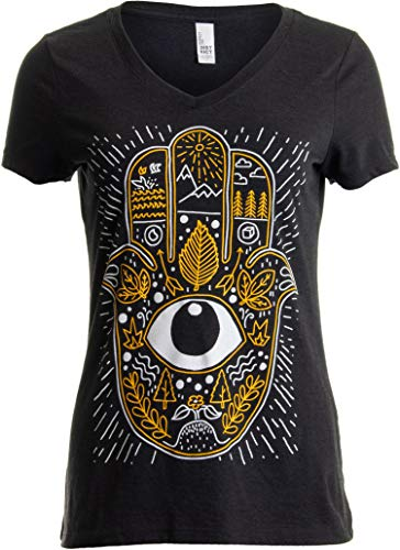 Hamsa Hand | Stylized Spiritual Protection Yoga Khamsa V-Neck T-Shirt for Women-(Vneck,2XL) Black