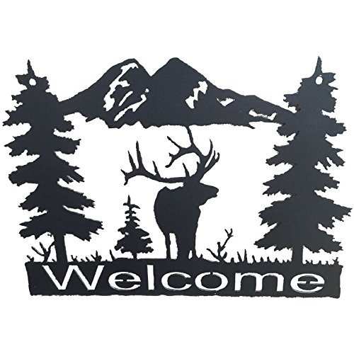 Elk Sign (Original Metal Art Wildlife Welcome Signs - Western Style Home Decor - Wall Accessory (Elk))