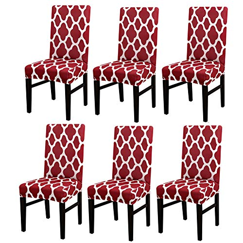 MIFXIN Chair Cover Set High Back Chair Protective Cover Slipcover Universal Stretch Elastic Chair Protector Seat Covers for Dining Room Wedding Banquet Party Decoration (Red+White, 6 Pcs)