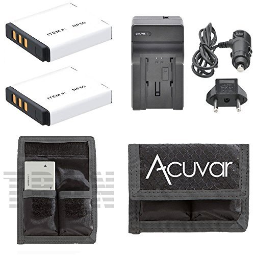 2 NP-50 Li-ion Batteries Replacement + Car/Home Charger + Acuvar Battery Pouch for Fujifilm EXR F550, F600, F605, F660, F665, F750, F770, F775, F800, F850, F900 REAL 3D W3 and Other Models