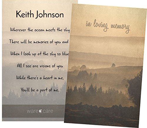 Personalized Laminated Wallet Sized Funeral, Memorial, Celebration of Life Remembrance Cards (Bundle of 25) (Mountain Sunset)