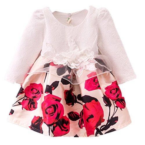 Tsyllyp Flower Girls Long Sleeve Princess Dresses Party