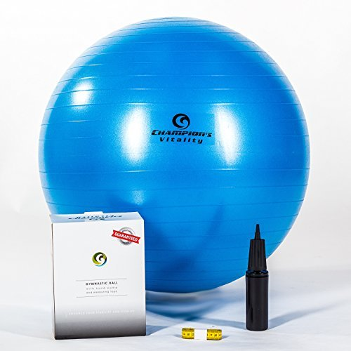 65 Cm Anti Burst Exercise Balance Ball Extra Thick for Fitness, Yoga or Just At Home As an Office Chair at a Desk. Include a Hand Air Pump, Measuring Tape and Replacement Plug. Weight Capacity 400 lbs. by Champion's Vitality