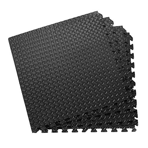 Tangkula Puzzle Exercise Mat, Floor Interlocking Mat with EVA Foam Interlocking Tiles for Exercise, Gymnastics and Home Gym, Protective Flooring Mat (48 Sq Ft)