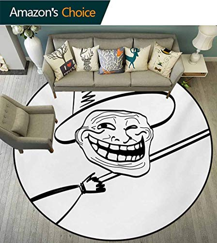 RUGSMAT Humor Small Round Rug Carpet,Halloween Spirit Themed Witch Guy Meme LOL Joy Spooky Avatar Artful Image Print Door Mat Indoors Bathroom Mats Non Slip,Round-39 Inch Black and White -