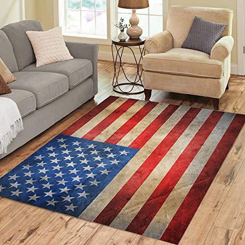 Pinbeam Area Rug Blue American USA Flag Red America Vintage Americana Home Decor Floor Rug 5