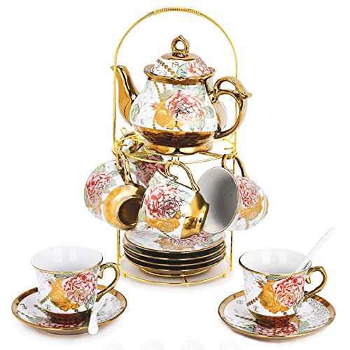 Cheapest Price! 20 Piece European Ceramic Tea Set Porcelain Tea SetWith Metal Holder,flower tea set ...