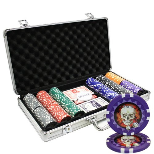 MRC 300pcs Skull Poker Chips Set with Aluminum Case Custom Build by Mrc Poker