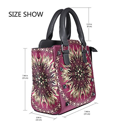 TIZORAX Handle Handbags Gold Women's Purple Leather Round PU Shoulder Floral Bags Top I7zwIq5xr
