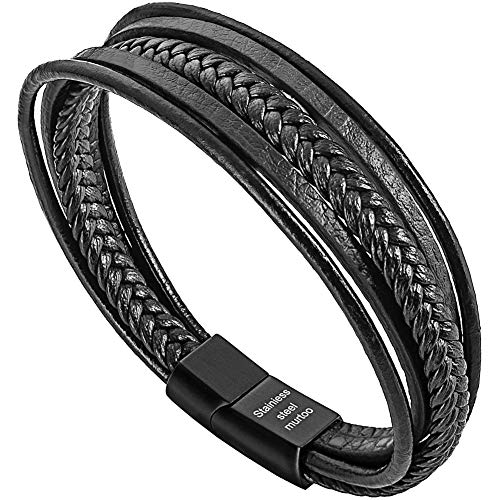 murtoo Womens Bracelets Braided Leather, Multilayer Genuine Leather Bracelet for Women (Black 7.1