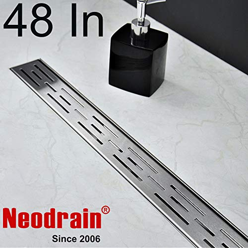 Neodrain 48 Inch Rectangular Linear Shower Drain with Brick Pattern Grate, Brushed 304 Stainless Steel Bathroom Floor Drain,Shower Floor Drain Includes Adjustable Leveling Feet, Hair Strainer
