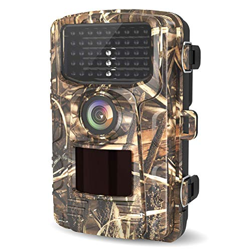 LETSCOM Trail Game Camera 14MP, IP65 Waterproof Wildlife Scouting Hunting Cams, 0.4s Trigger Speed, 42 Low Glow IR LEDs, 120° Wide Angle (Yellow)