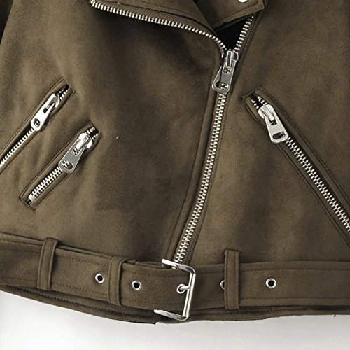 Femmes Courte Printemps Suede Veste Cool Fabric Café Casual Tops Slim Outwear Blouson Manteau Demiawaking 5vcTZT