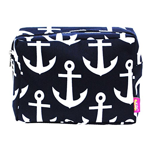 - N.Gil Nautical Anchor Print Small Canvas Cosmetic Travel Bag