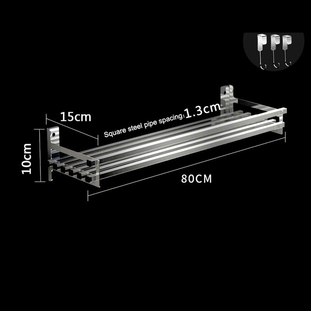 BOBE Shop- Shop- Shop- Küchen-Vorratsspeicher-Lager   304 Edelstahl-Speicher-Küchenregal Wand-Regale mit 3 Haken (größe   80cm) e18d4f