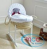 MCC Komplettset Moses Palmkorb, Baby Korb, Stubenwagen, in natur mit Matratze, Teddy Bezug und Schaukelgestell