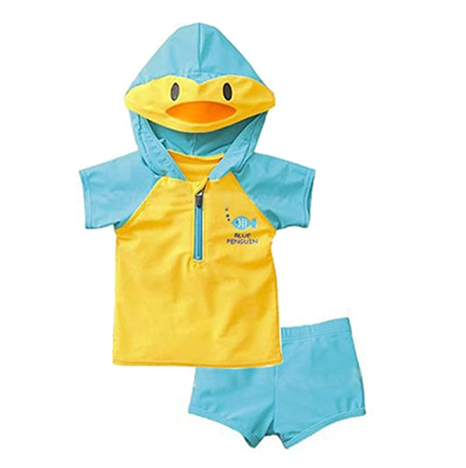 917251a1d2 Sun Protective Baby Boys Two Piece Swimsuit Set Rash Guards Bathing Suit  Short Sleeve Swimwear Sunsuit