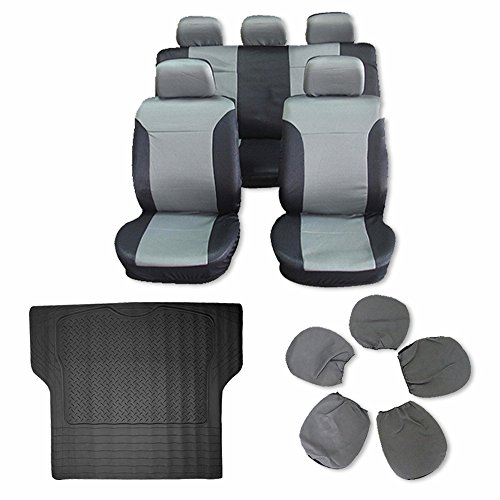 Scitoo 10-PCS Trunk Liner Floor Mat Black/Gray Car Seat Covers for Heavy Duty Vans Trucks by Scitoo