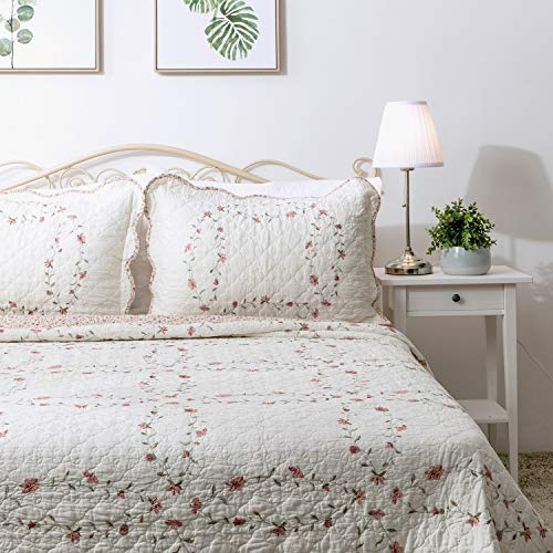 Elegant Life 100% Cotton Reversible Soft Floral Pattern Windsor Love Embroidery Bed Quilt Coverlet Bedspread, Queen Size, 92