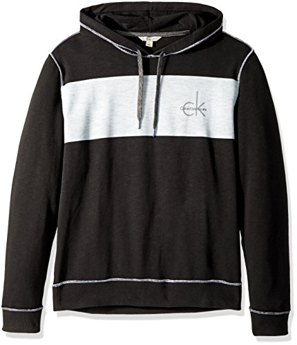 Calvin Klein Jeans Men's Long Sleeve CK Logo Chest Stripe Pullover Hoodie, Black, Large Calvin Klein Ck Denim