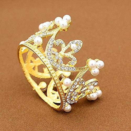 (QJXSAN Headwear Regalo de la Corona de la Torta Redonda para hornear accesorios de decoración de la boda Perla de aleación de cumpleaños pequeños sombreros accesorios)