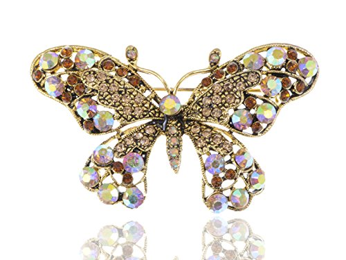 Alilang Antique Golden Tone Iridescent Light Brown Rhinestones Butterfly Brooch Pin (Butterfly Turquoise Pin)