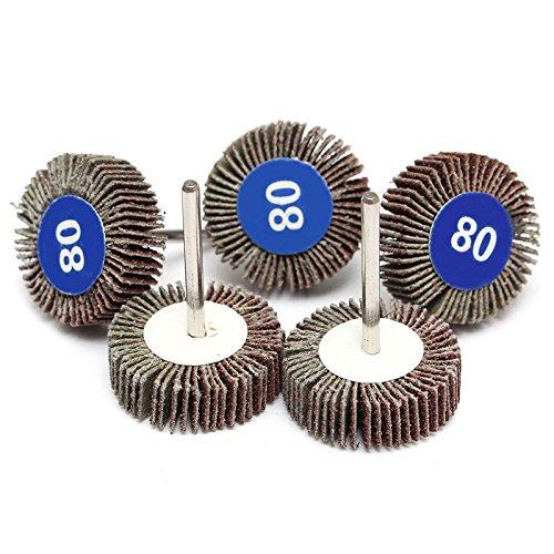 5Pcs 80 Grit Grinding Sanding Polishing Sandpaper Polisher Flap Wheel Discs For Dremel Rotary Tools (Rotary Sandpaper Driver)