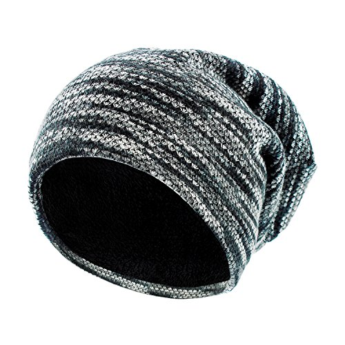 SANDALUP Unisex Trendy Slouchy Beanie Warm Soft Lining Winter Knit Hat Skull Cap With Colourful/Black