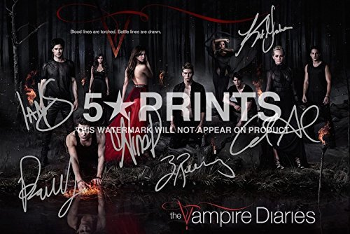The Vampire Diaries Poster Photo Signed Pp by 6 Cast Ian Somerhalder, Paul Wesley,