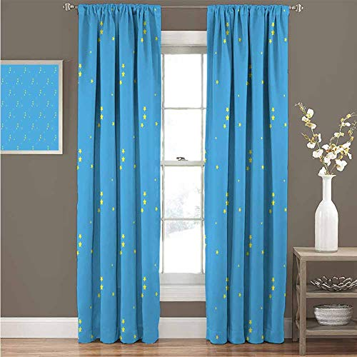 HouseLook Yellow and Blue Microfiber Room Darkening Drapes Stars in The Sky Themed Vibrant Colored Kids Children Celestial Pattern Grommet Window Drapes for Living Room W108 x L97 Inch Blue Yellow