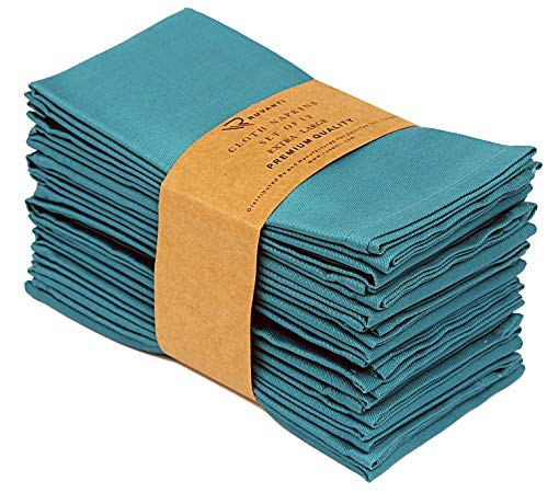 "Ruvanti Kitchen Cloth Napkins 12 Pack (18""X18""),Dinner Napkins Soft & Comfortable Reusable Turquoise Napkins -Durable Linen Napkins - Perfect Table Napkins/Teal Napkins for Family Dinners, Weddings."