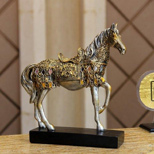 アンティーク ヨーロピアン風 美しい 装飾 馬の 置物 ゴールドタイプ 風水 縁起 B00HVOAVRA