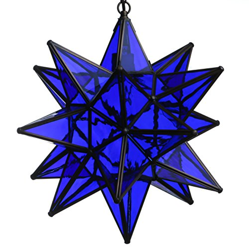 15 Inch Hanging Blue Glass Star Pendant -