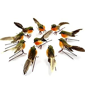 Yolococa Very Cute Artificial Feather Robin Bird Christmas Tree Decoration Craft 2