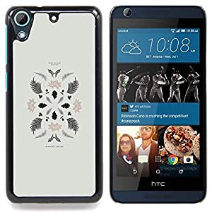 FOR HTC Desire 626 & 626s Queen Pattern - Plant Leaves Art Minimalistic Composition - Doble capa de armadura de la cubierta del caso del protector -