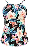 Gabrielle-Aug Women's Retro Sailor Stripe Floral Sporty Tankini Top Swimsuit (FBA) (Multi&Floral, 12)