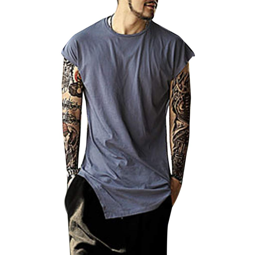 Hotkey Mens Polo Shirts Men's Summer Casual Fashion European Style Irregular Sports Vest Top Blouse Blue