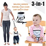 Umin 3 in 1 Portable/ Travel High Chair + Toddler Safety Walking Harness+ Shopping Cart Safety Strap,Lightweight & Washable,Chevron