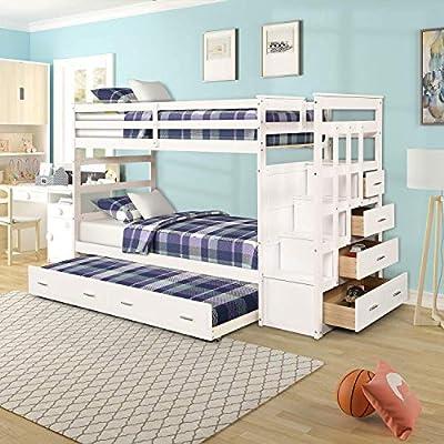 Litera doble sobre cama individual con escalera nido y 4 cajones en los escalones y una litera de madera maciza para niños, color blanco natural: Amazon.es: Hogar