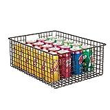 mDesign Wire Organizing Storage Basket with Built-In Handles - 16'' x 12'' x 6'', Bronze