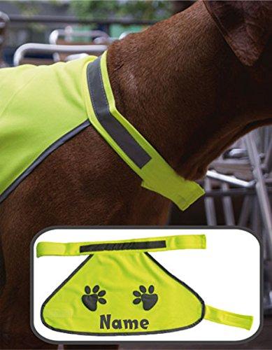 Hundewarnweste Sicherheitsweste für den Hund Warnweste mit Namen Reflektordruck verschiedene Größen S, M, L (L)