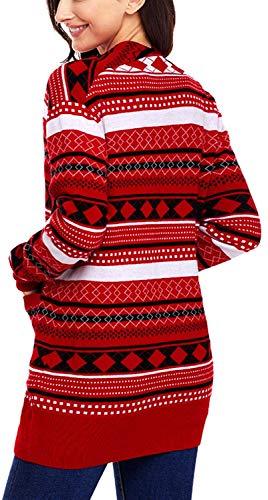 Grazioso Pullover Stampate Elasticità Outerwear Comodo Modern Maglieria Maglia Pattern Donna Autunno Stile Lunga A Rot Tasche Di Moda Manica Elegante Giacca Anteriori aZW8RqUaT