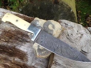 De acero de Damasco cuchillo de cocina plegable mango de hueso
