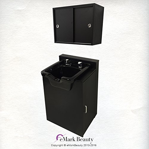 Square ABS Plastic Shampoo Bowl Floor & Towel Cabinet Package