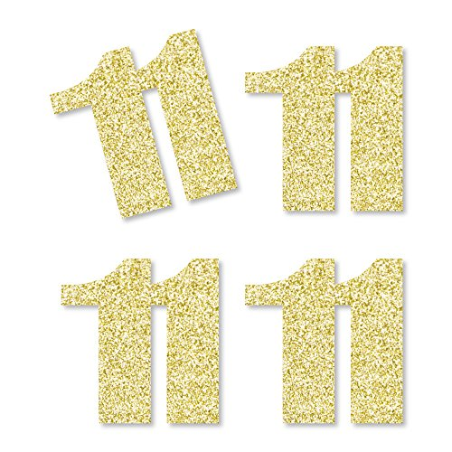 Gold Glitter 11 - No-Mess Real Gold Glitter Cut-Out Numbers - 11th Birthday Party Confetti - Set of 24 by Big Dot of Happiness