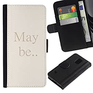 Paccase / Billetera de Cuero Caso del tirón Titular de la tarjeta Carcasa Funda para - May Be Quote Text Beige Letters Words - Samsung Galaxy S5 V SM-G900