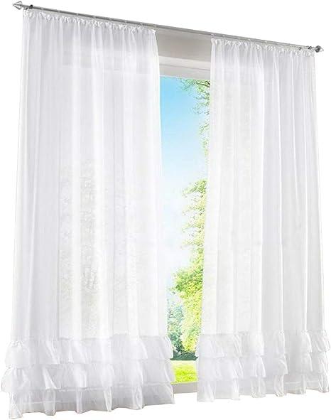 1er de Pack – Visillo fruncido cortinas con Pliegues transparente Voile Cortina, tela, weiß, BxH 150x225cm: Amazon.es: Hogar