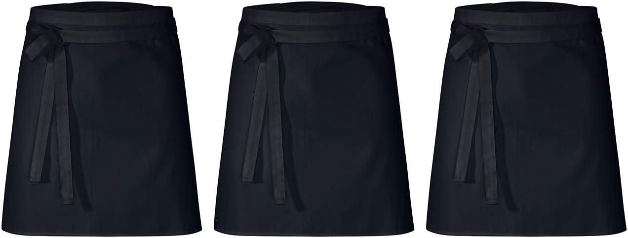 DESERMO 3er Set Premium kurzer Vorbinder 50cm x 80cm Schwarz L X B ✓ Hochwertige Taillen-Sch/ürze f/ür Frau und Mann ✓ Innovative Mischung aus Baumwolle und Polyester ✓ 220g//m/²