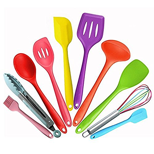 Colorful Kitchen Cooking Silicone Utensil Sets- Heat Resistant Kitchen Gadgets (10 Pieces) Includes Turner Slotted spoon Ladle Spoon Spoon Spatula Spoonula Spatula Basting brush Tong Whisk by BOHE