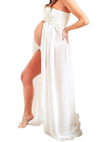 BIUBIONG Chifón Vestido para Premamá Tubo Superior Split de Color Sólido para Embarazada, EU 34